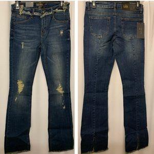 L&B Split hem bootcut jeans 4 dark wash tea stain